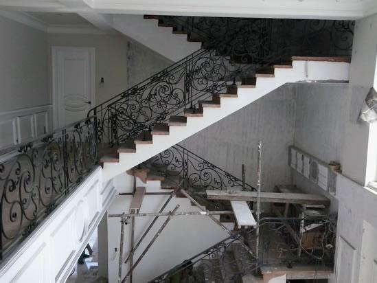 Wrought Iron Stair Railing, Entrance Gate, and False Balcony Railing