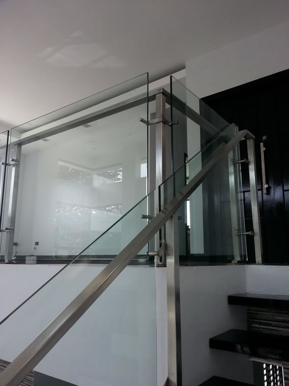 Glass Stair Railing in Stainless Frame Hairline