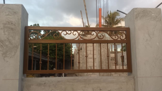Wrought Iron Gate Wood Finish