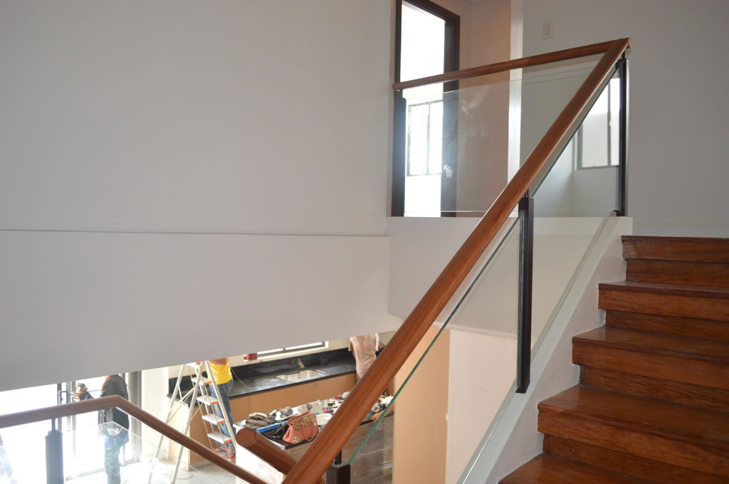 Glass Railing in wrought Iron Frame