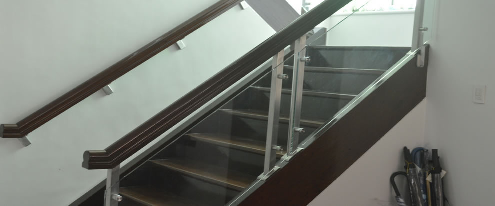 Tempered Glass Stair Railing Side Post Mounted