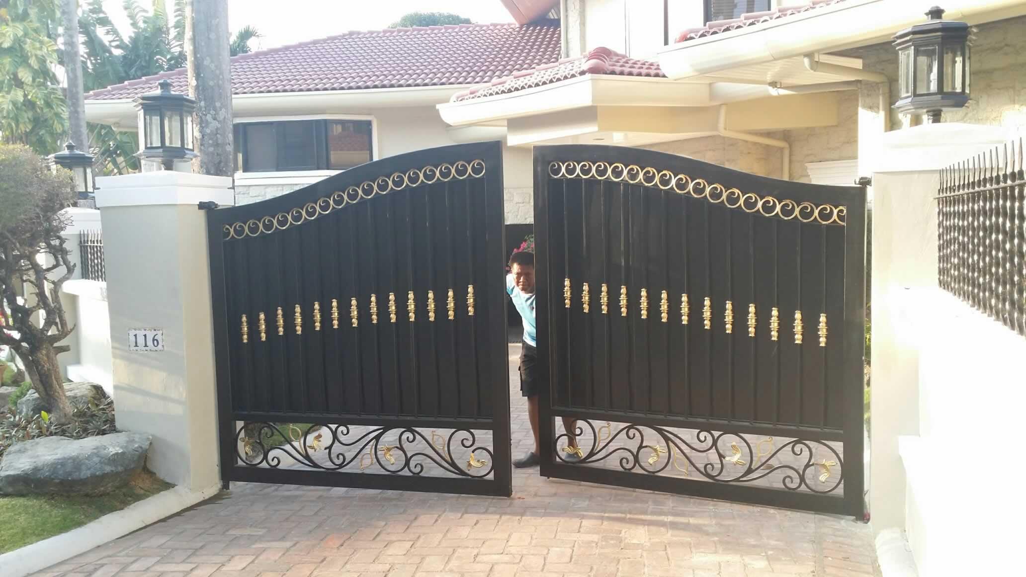 Entrance Gate Fabrication | Cavitetrail, Glass Railings Philippines ...