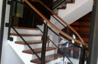 Stair Clear Tempered Glass with Wrought Iron Frame