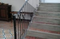 Stair Railing in Wrought Iron Square Bar Scalop Design